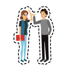 Young adults having a conversation icon image vector