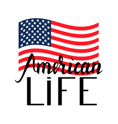 american flag with inscription brush american life vector image