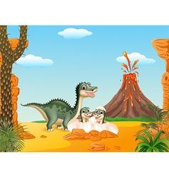 Cartoon smile mom tyrannosaurus dinosaur and baby vector image vector image