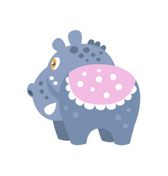 cute cartoon hippo character back view vector image