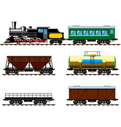 Old steam locomotive with wagons vector image vector image