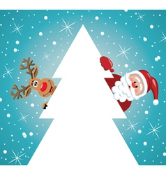 santa claus with reindeer and christmas tree vector image vector image