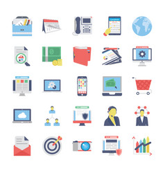 seo and marketing flat colored icons 1 vector image vector image