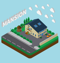 summer mansion isometric composition vector image