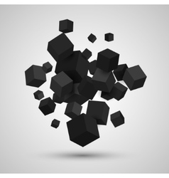 3d cubes geometric background vector image
