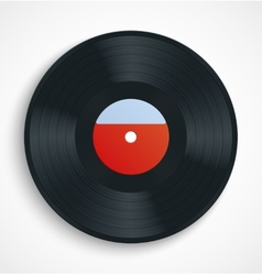 Black vinyl record disc with blank label in red vector image