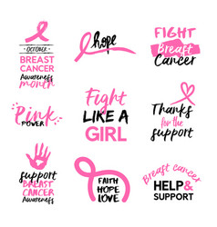 breast cancer awareness pink hand drawn quote set vector image vector image