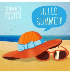 Cute summer poster - hat and sun glasses on the vector image
