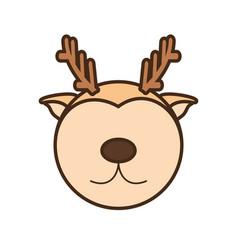 face reindeer cartoon animal vector image