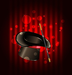 Magic background with top hat and wand vector image