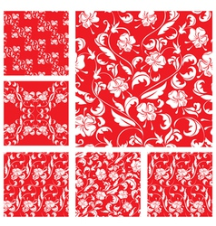 Set of Vintage ornate seamless patterns with white vector image vector image