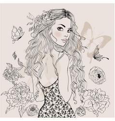 beautiful summer girl vector image vector image