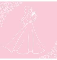 bride with bouquet vector image vector image