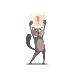 Cat Holding Paper With Exclamation Point vector image vector image