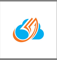 cloud data paper logo vector image vector image