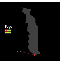 Detailed map of Togo and capital city Lome with vector image vector image