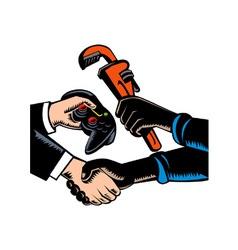Hands Barter Plumbing Gamer Game Controller vector image