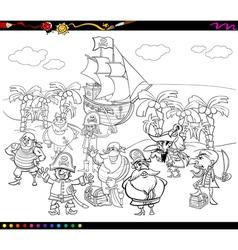 pirates cartoon coloring book vector image vector image