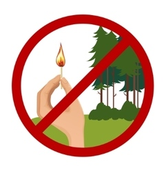 Stop symbol with hand holding burning match vector image