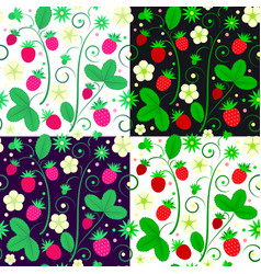 strawberries seamless pattern in color variations vector image