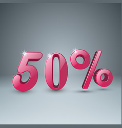 3d pink percent icon vector image