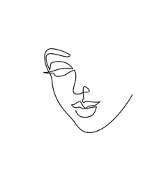 Abstract beautiful woman face on white background vector