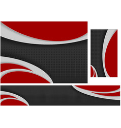 abstract black and red tech wavy design set vector image