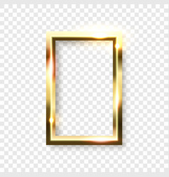 Abstract shiny golden rectangle frame with white vector
