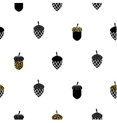 acorn black and white seamless pattern vector image