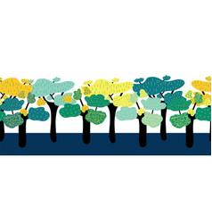 african savannah trees seamless border vector image