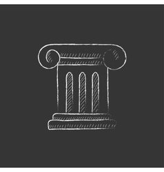 Ancient column Drawn in chalk icon vector image