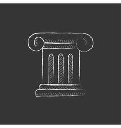 Ancient column Drawn in chalk icon vector