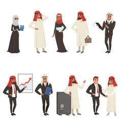 arabian businessmen and bisinesswomen characters vector image
