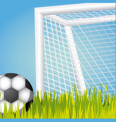 Ball and goal soccer icon vector