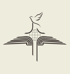 Bible cross dove and globe vector