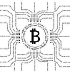 bitcoin and binary data streams vector image