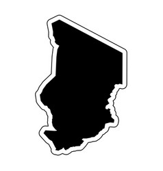 black silhouette of the country chad with the vector image