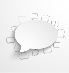 Blank white paper speech bubble with shadow and vector