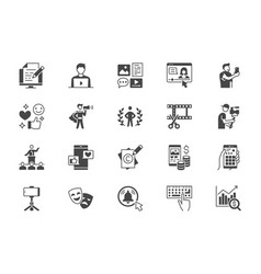 blogger flat glyph icons vector image