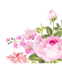 Blooming rose garland vector