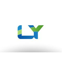 blue green ly l y alphabet letter logo vector image