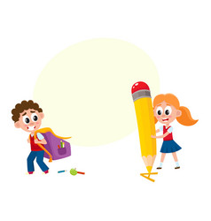 boy carrying backpack girl with huge pencil vector image