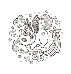 cat unicorn with clouds and stars cartoon animals vector image