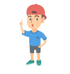 caucasian boy with open mouth pointing finger up vector image