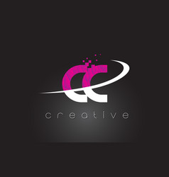 Cc c c creative letters design with white pink vector