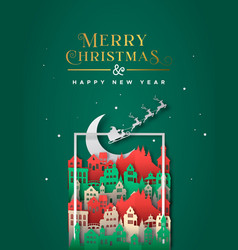 christmas new year festive paper cut city frame vector image