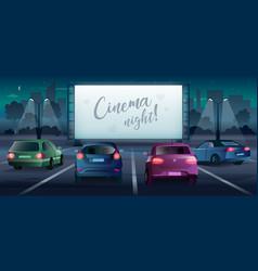Cinema night banner in cartoon style drive vector