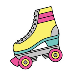 classic roller skate laced wheels retro fashion vector image