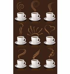 coffee cups and steam vector image