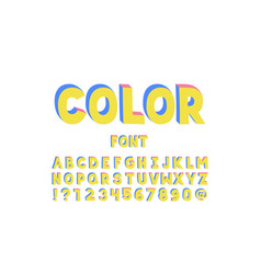 color font alphabet vector image
